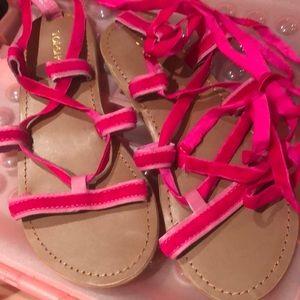 Pink Velvet Gladiator Sandals NWOTS
